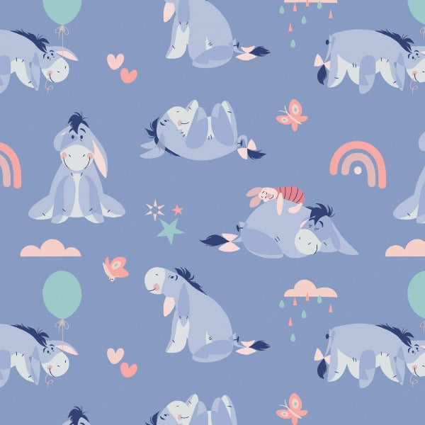 Enjoy the Little Things Eeyore and Piglet Periwinkle Fabric to sew - QuiltGirls®
