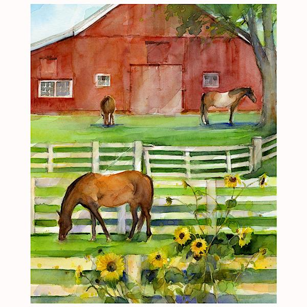 Sunflower Stampede Horse Farm Panel to sew