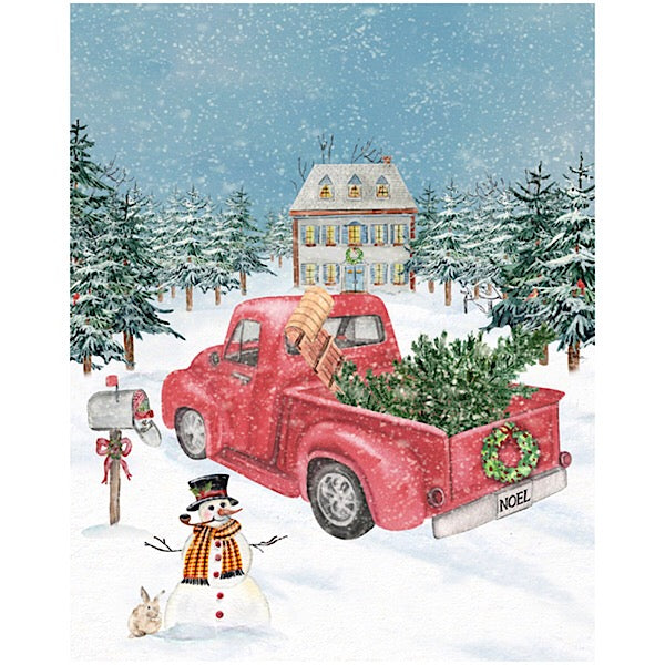 Winterland Red Truck Christmas Panel to Sew