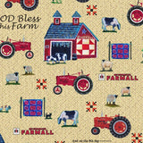 "(Remnant 18"") Farmall Folk Art on Tan Fabric to sew - QuiltGirls®"