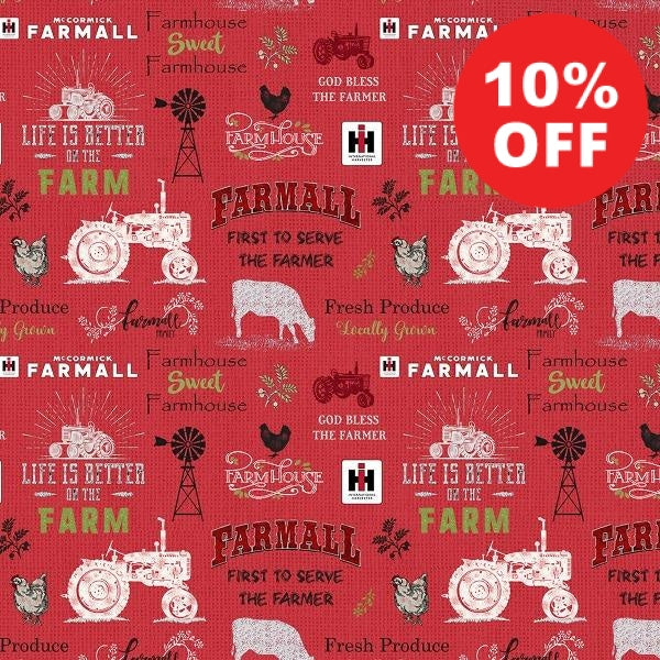 Farmall Sweet Farmhouse Red Fabric to sew - QuiltGirls®