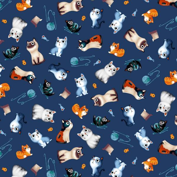 Feline Friends Tossed on Blue Fabric to sew