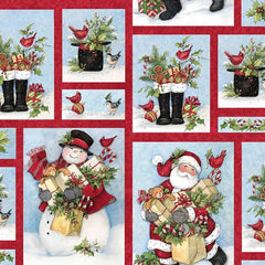 "(Remnant 18"") Gathering the Gifts Santa Fabric to Sew - QuiltGirls®"