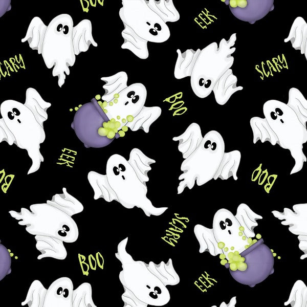 A Haunting We Will Glow Ghost Fabric to sew