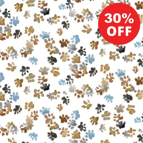 Precious Dog and Cat Paw Print Impressions Fabric to sew