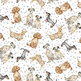 Precious Dogs Gray Dot Fabric to sew - QuiltGirls®