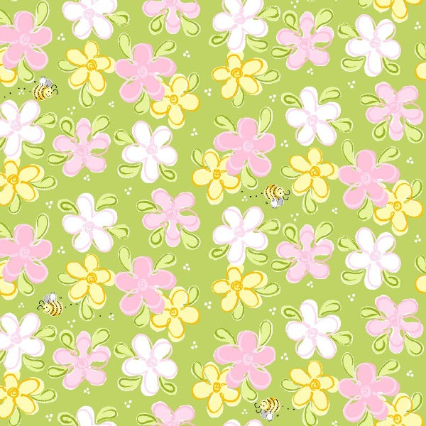Susybee's Flowers and Bees on Green Fabric to sew