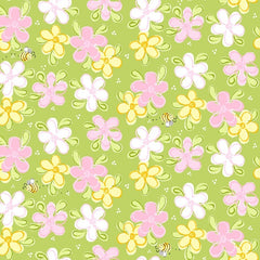 "(Remnant 18"") Susybee's Flowers and Bees on Green Fabric to sew - QuiltGirls®"