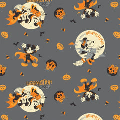 "(Remnant 18"") Mickey Bewitching Halloween on Grey Fabric to sew - QuiltGirls®"