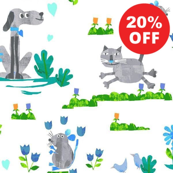 Grey Dogs and Cats Fabric to sew - QuiltGirls®