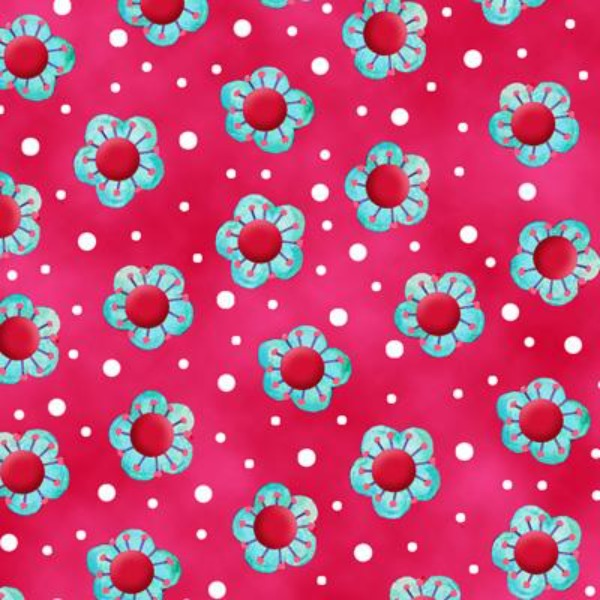 PNK Cool Cats Flowers on Pink Fabric to sew
