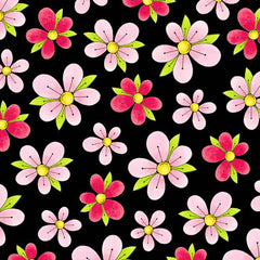 BLK Miss Kitty's Colors Pink Flowers on Black Fabric to sew - QuiltGirls®