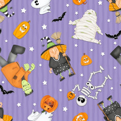A Haunting We Will Glow Halloween Motifs Fabric to sew - QuiltGirls®