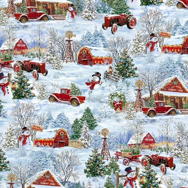 Country Christmas Scenic Fabric to Sew