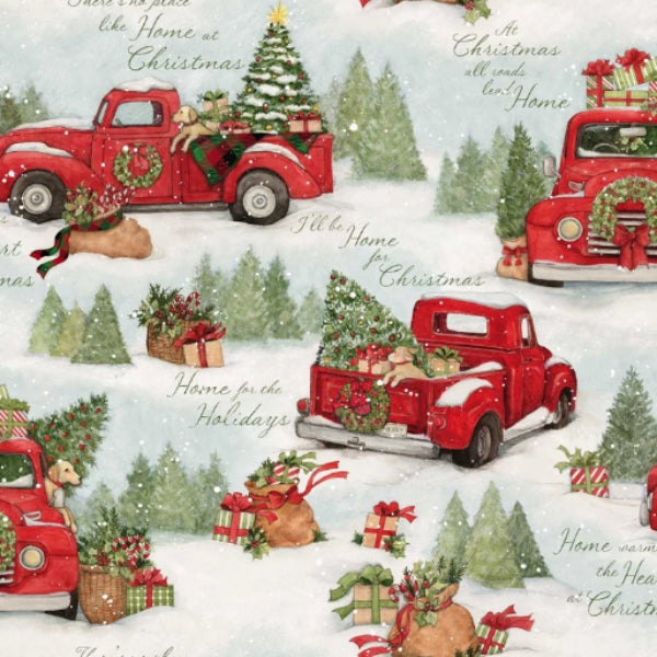 Home for Christmas Red Truck Scenic Fabric to Sew