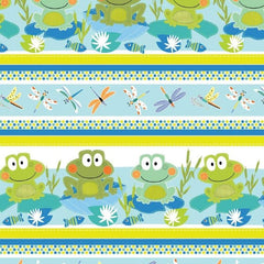 "(Remnant 18"") Toadally Cute Stripe Fabric to sew - QuiltGirls®"