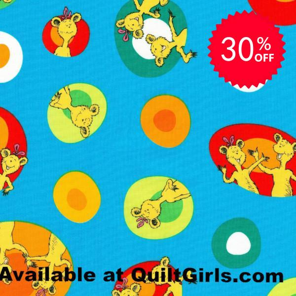 Hop on Pop Blue Fabric to sew - QuiltGirls®