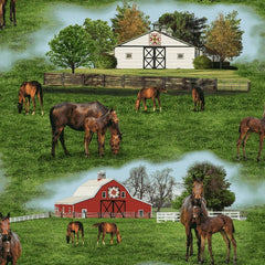 Horses on Thistle Hill Scenic Fabric to sew - QuiltGirls®