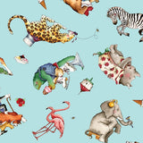 Hungry Animal Alphabet Toss on Blue Fabric to Sew - QuiltGirls®