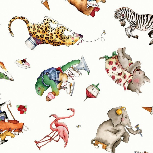 Hungry Animal Alphabet Toss on White Fabric to Sew - QuiltGirls®