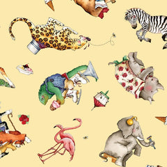 "(Remnant 18"") Hungry Animal Alphabet Toss on Yellow Fabric to Sew - QuiltGirls®"