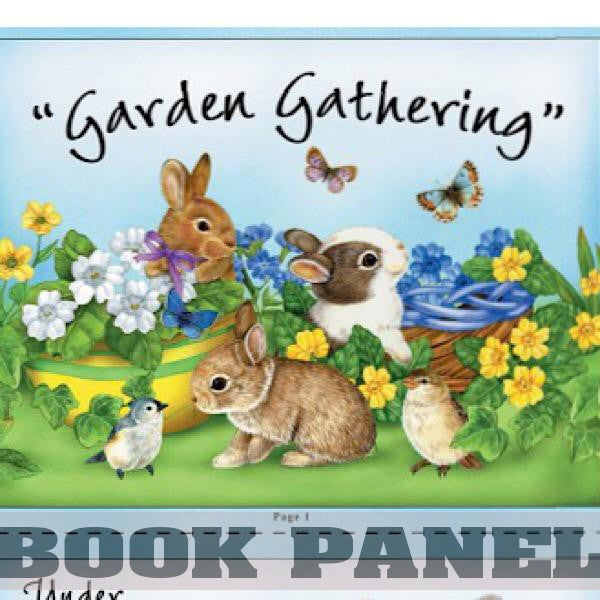 Garden Gathering Bunny Fabric Book Panel to Sew