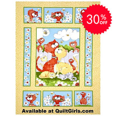 Susybee's Purrl the Cat Fabric Panel to sew - QuiltGirls®