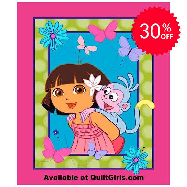 Dora and Boots Quilt Panel to sew