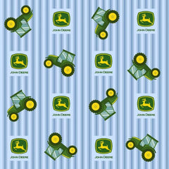 John Deere Blue Ticking Stripe Fabric to sew - QuiltGirls®