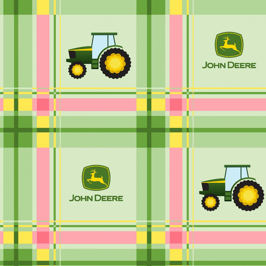 "(Remnant 18"") John Deere Plaid Pink Fabric to sew"