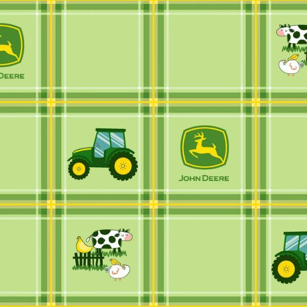 John Deere Tractor Plaid Green Fabric to sew