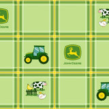 John Deere Tractor Plaid Green Fabric to sew - QuiltGirls®