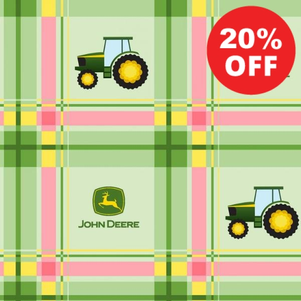 John Deere Plaid Pink Fabric to sew