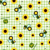 "(Remnant 18"") John Deere Sunflower Fabric to sew - QuiltGirls®"