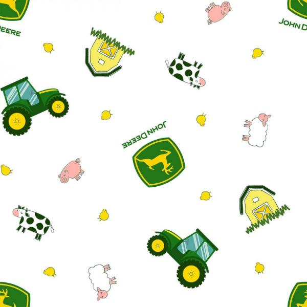 "(Remnant 18"") John Deere Tractor Toss on White Fabric to sew - QuiltGirls®"