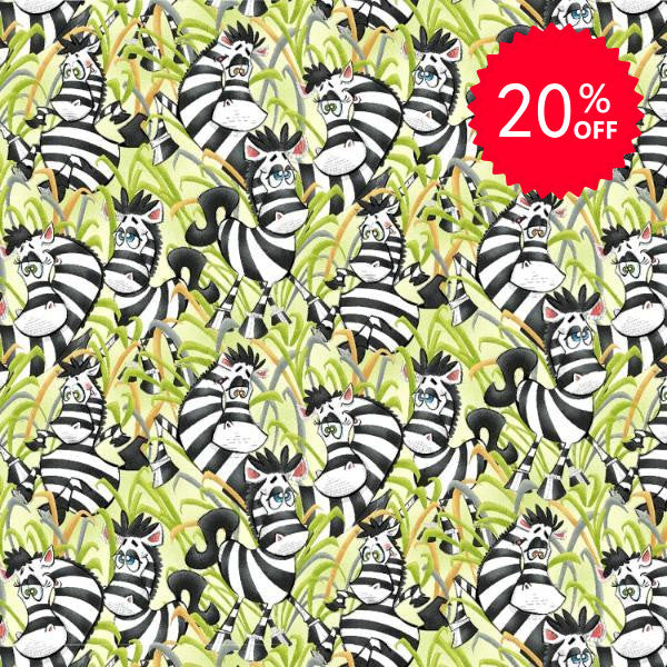 Jungle Story Playful Zebra Tossed on Green Fabric to Sew - QuiltGirls®