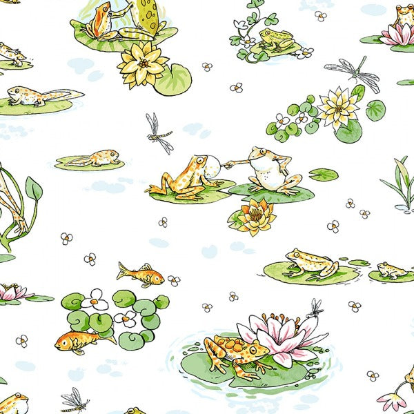 Leap Frog White Scenic Fabric to sew - QuiltGirls®