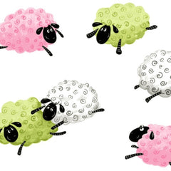 "(Remnant 18"") Susybee's Colorful Sheep Toss on White Fabric to sew - QuiltGirls®"