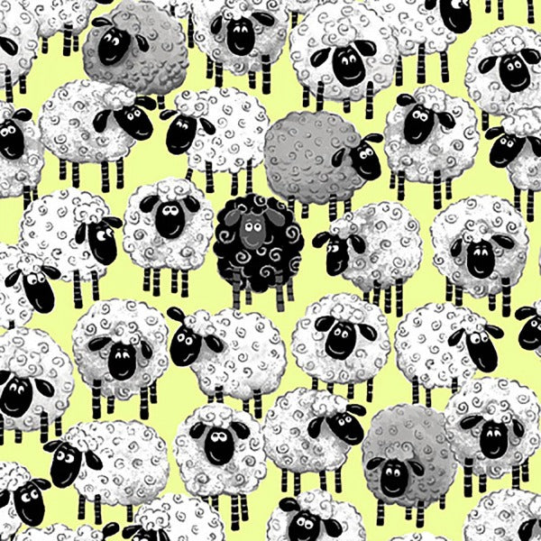 Susybee's Lewe Allover Sheep Green Fabric to sew