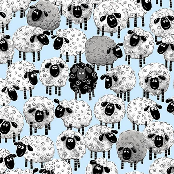 Susybee's Lewe Allover Sheep Blue Fabric to sew