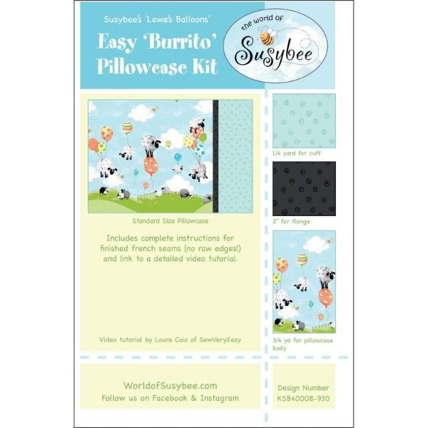 Susybee's Lewe's Balloons Pillow Case Kit to sew - QuiltGirls®