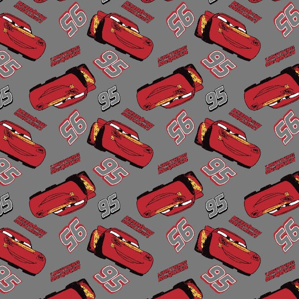 Disney Cars Lightning McQueen on Grey Fabric to sew