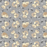 Little Critters Fox Toss on Gray Fabric to sew - QuiltGirls®