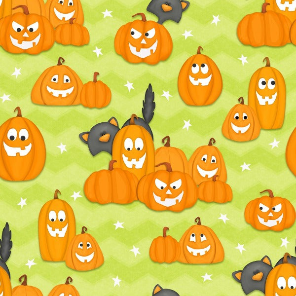 A Haunting We Will Glow Pumpkin Fabric to sew