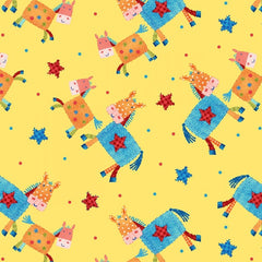 Little Red Barn Horse Toss on Yellow Fabric to sew - QuiltGirls®