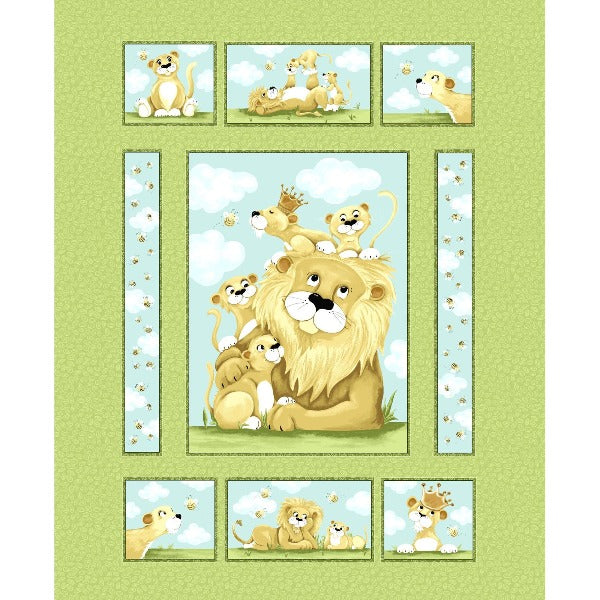 Susybee's Lyon the Lion Quilt Panel to sew - QuiltGirls®