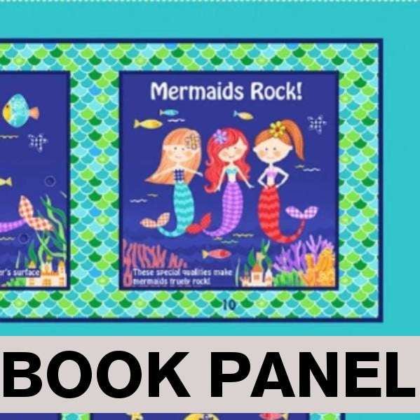 Mermaids Rock Fabric Book Panel to Sew - QuiltGirls®