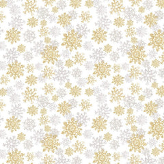 "(Remnant 18"") Christmas Metallic Snowflakes Fabric to Sew - QuiltGirls®"