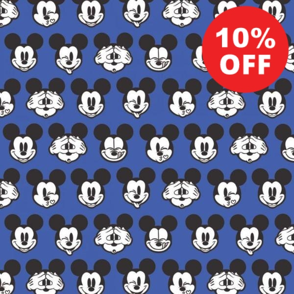 Mickey Expressions on Blue Fabric to sew - QuiltGirls®