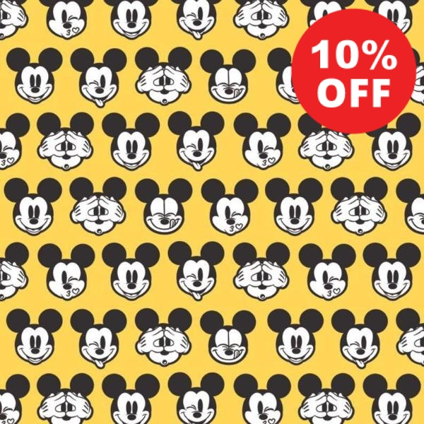 Mickey Expressions on Yellow Fabric to sew - QuiltGirls®